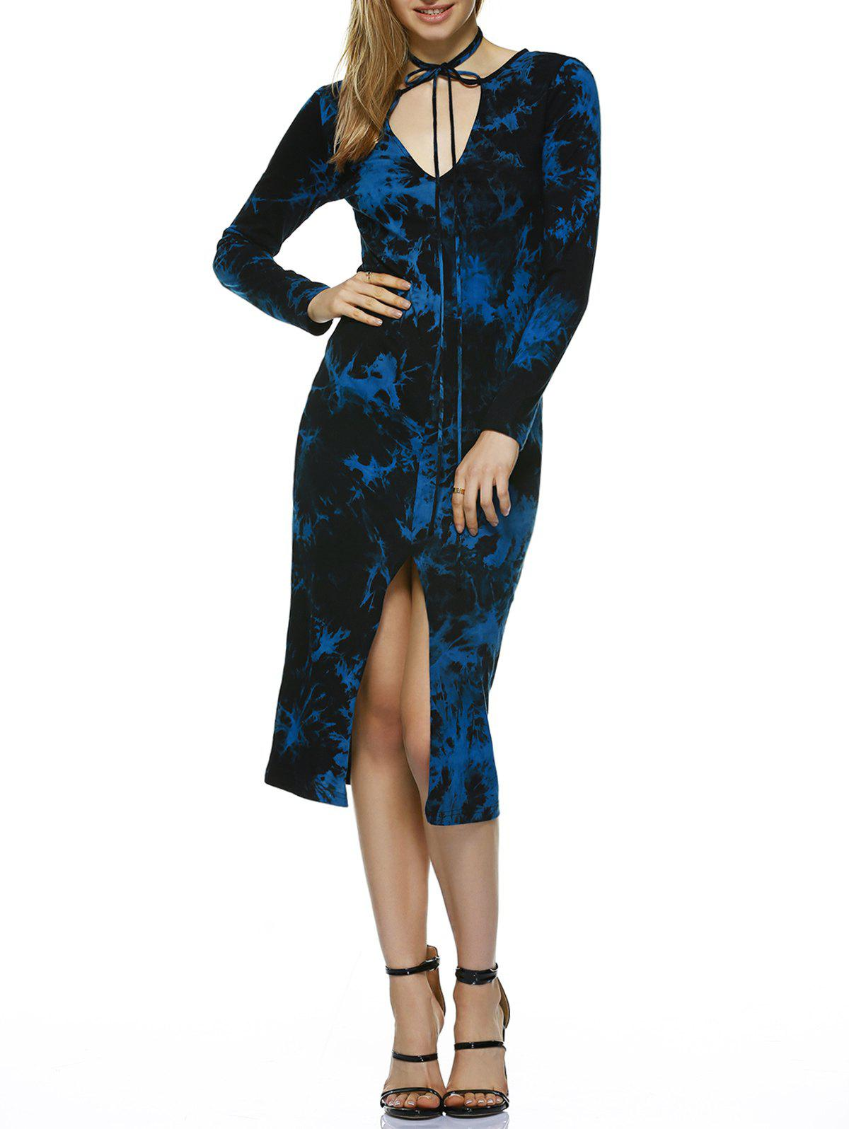 Tie-Dye Cut Out Sheath Dress - BLUE/BLACK XL