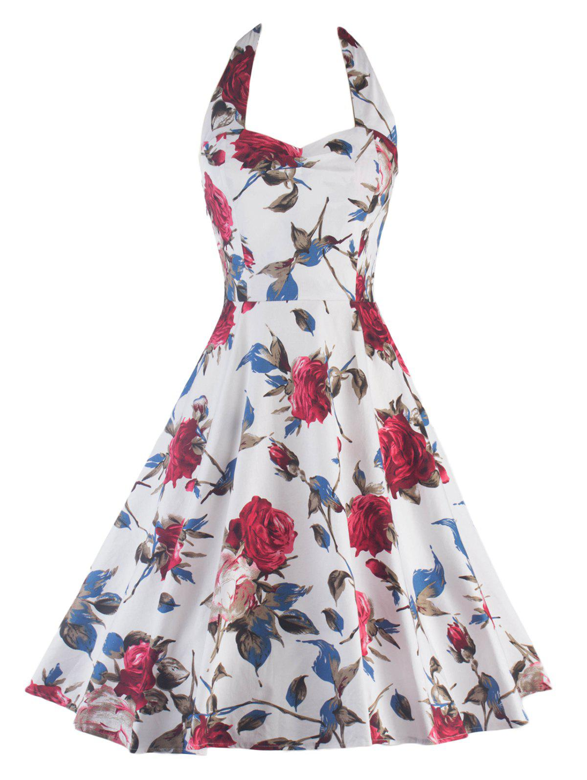 Halter Floral Print Backless Pin Up Dress - WHITE 2XL