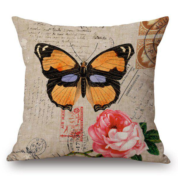 Retro Style Danaidae and Rose Printed Pillow Case - LIGHT KHAKI