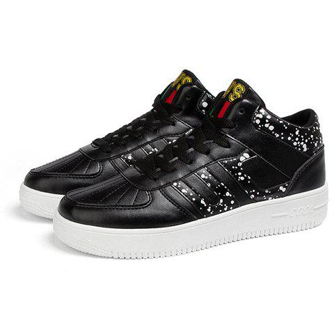 Trendy Mid Top and Spot Print Design Men's Athletic Shoes - BLACK 44