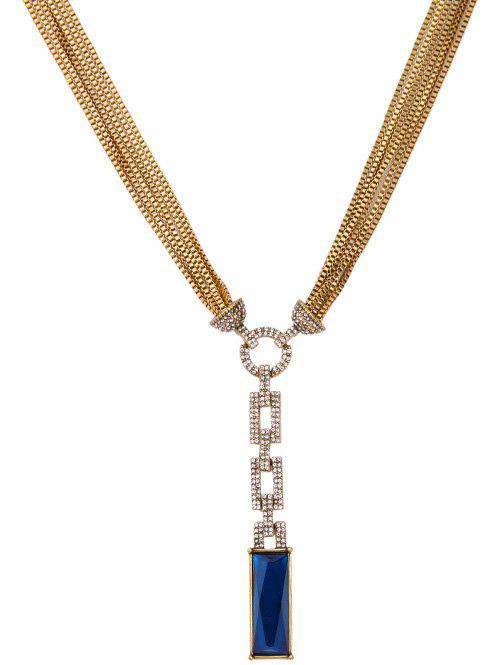 Multilayered Chain Faux Sapphire Cut Out Rhinestone Geo Necklace - GOLDEN
