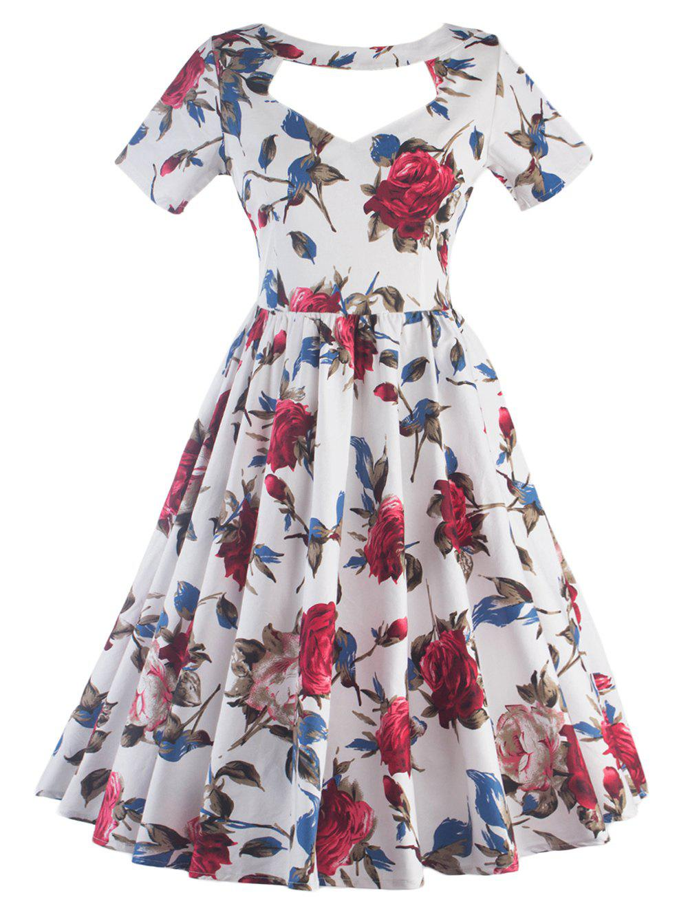 Halter Hollow Out Floral Print Pin Up Dress - WHITE 2XL