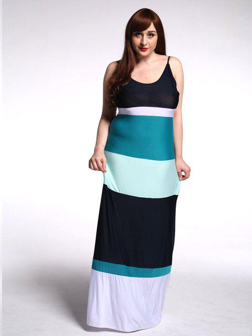 Plus Size Spaghetti Strap Color Block Splicing Maxi Dress - STRIPE 6XL