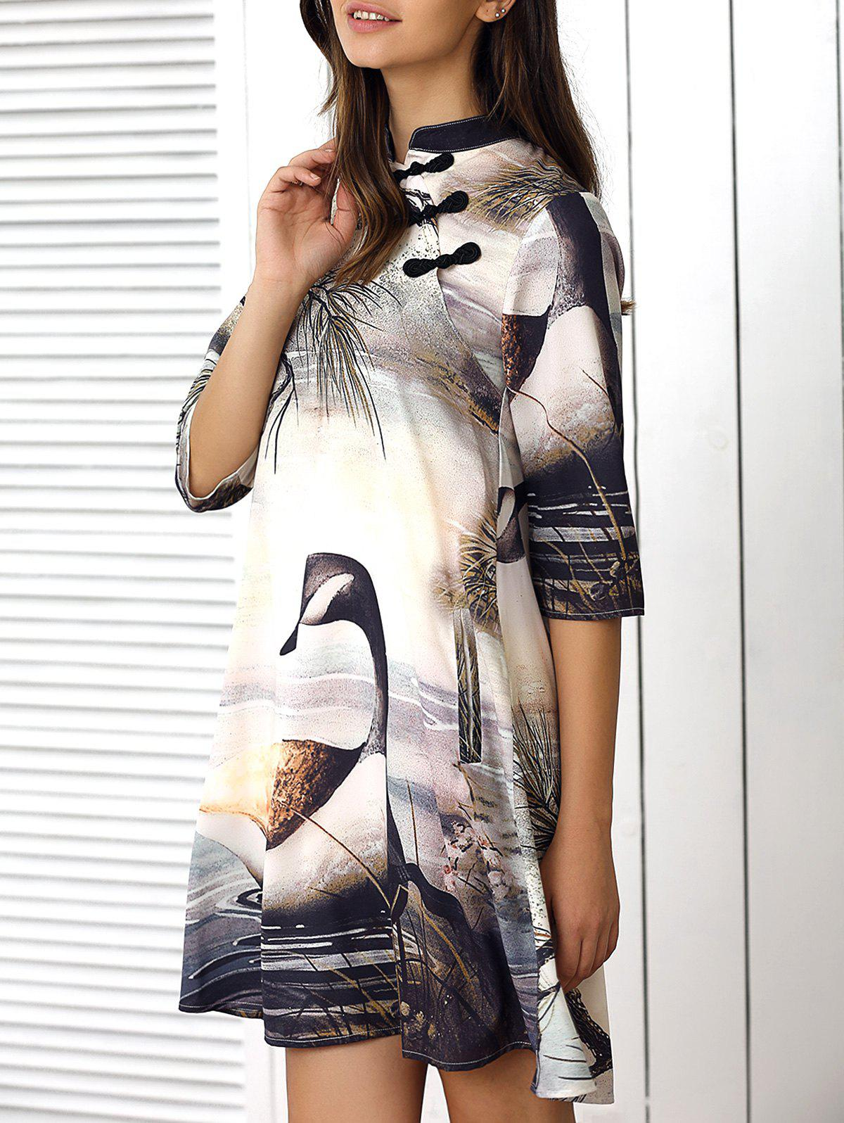 Half Sleeve High Low Printed Dress - COLORMIX XL