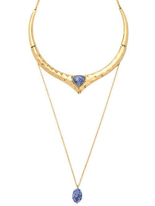 Natural Stone Gold Plated Ripple Layered Necklace - GOLDEN