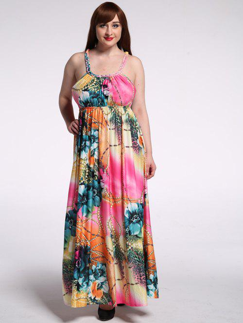 Plus Size U Neck Floral Print Maxi Dress - multicolorcolore 2XL