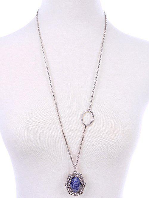 Retro Style Rhinestone Geometric Oval Pendant Necklace -  SILVER
