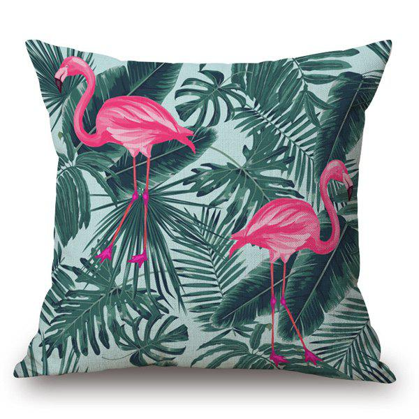 Tropical Style Flamingo and Leaf Printed Pillow Case - GREEN