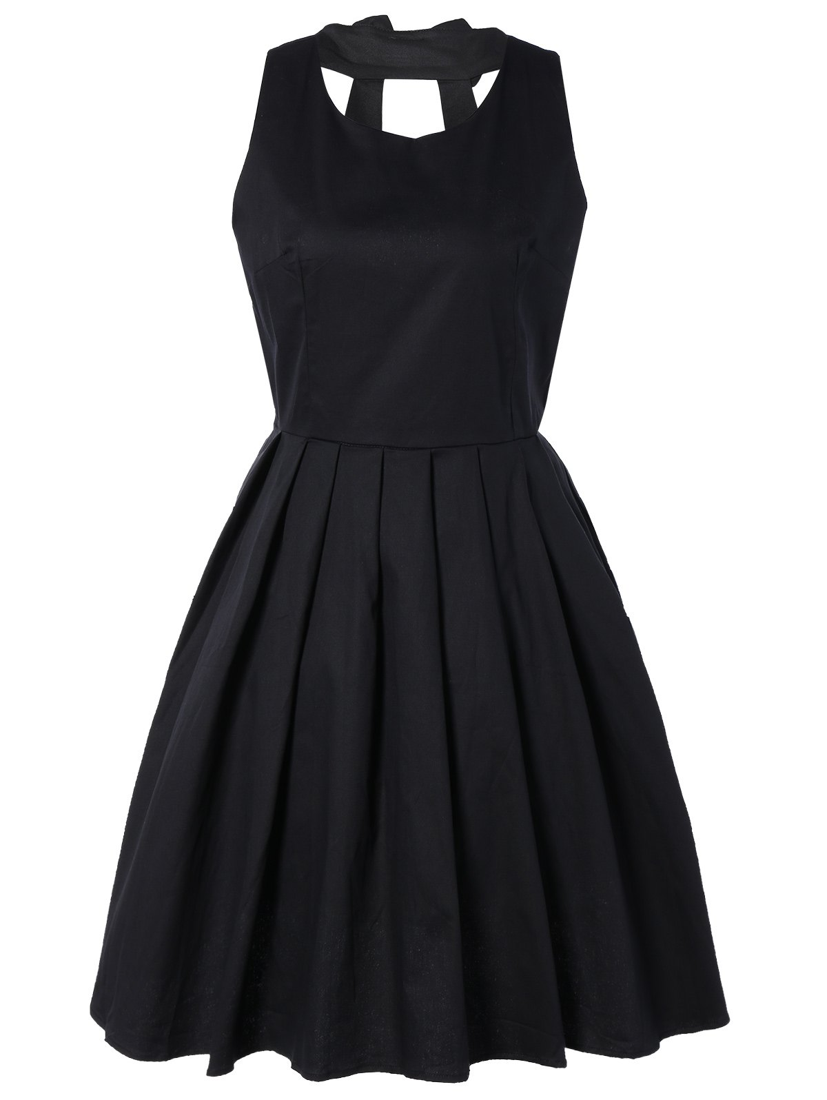 Pure Color Back Bowknot Hollow Out Pleated Dress - BLACK 2XL