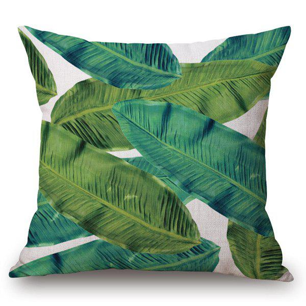 Tropical Style Banana Leaf Printed Pillow Case - OFF WHITE
