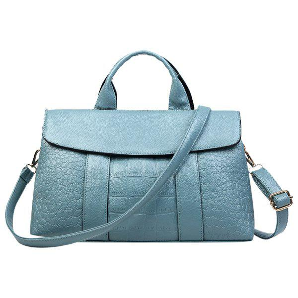 Trendy Crocodile Embossed and Cover Design Women's Tote Bag - LIGHT BLUE