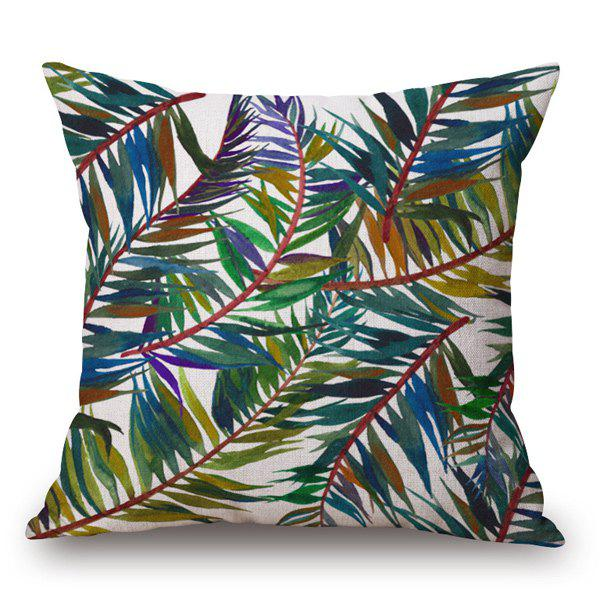 Tropical Style Handpainted Colorful Leaves Printed Pillow Case - OFF WHITE