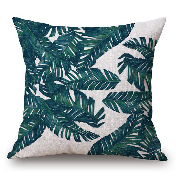 Tropical Style Handpainted Fern Leaves Printed Pillow Case -  OFF WHITE