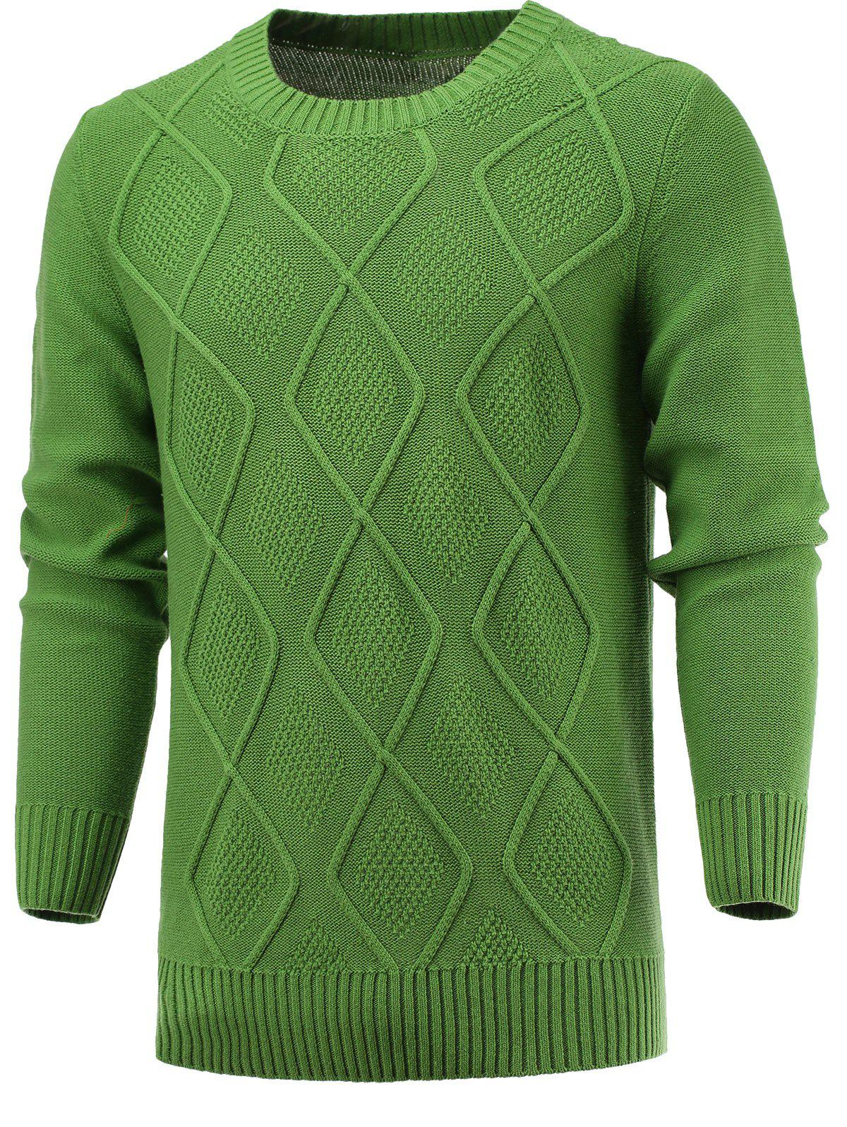 Round Neck Geometric Knitted Sweater - GRASS GREEN 2XL