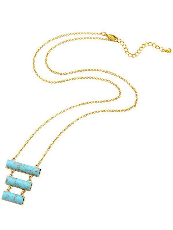 Tiered Rectangle Natural Stone Pendant Necklace - TURQUOISE