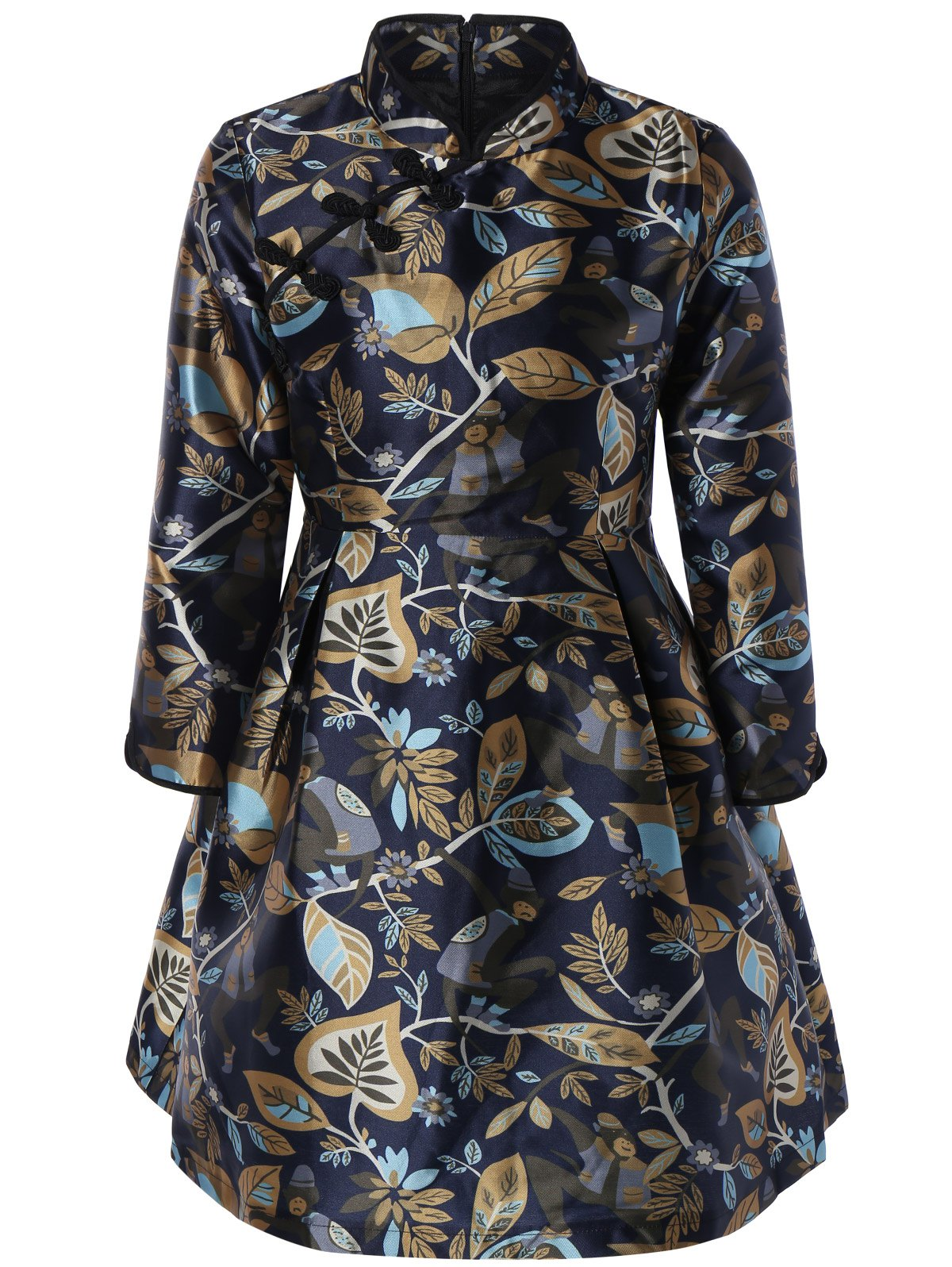 Mandarin Collar Leaf Print Ruched Dress - COLORMIX 2XL