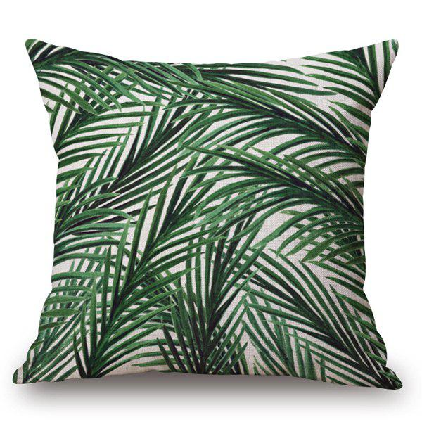 Tropical Style Handpainted Slim Leaves Printed Pillow Case - OFF WHITE