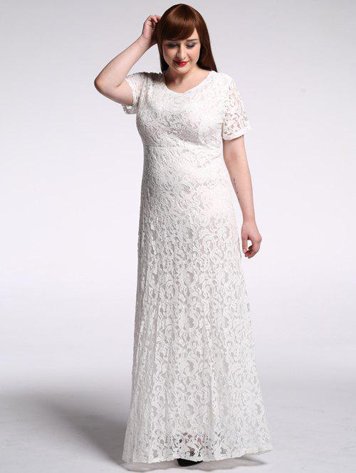 Plus Size High Waist Hollow Out Lace Maxi Prom Dress - WHITE 9XL
