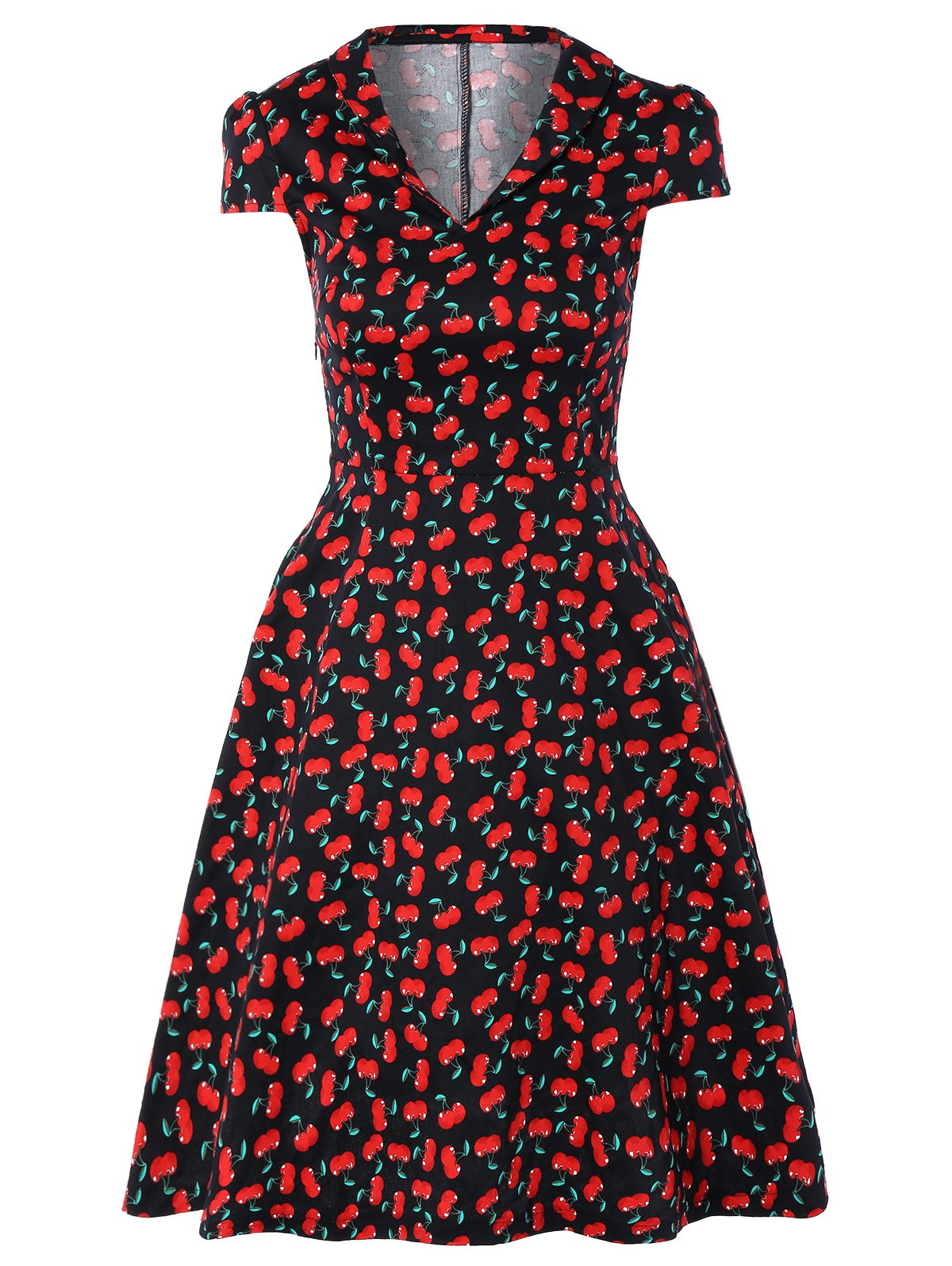 Vintage V-Neck Cherry Print Fit and Flare Dress