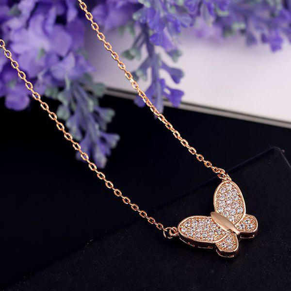 Alloy Gold Plated Rhinestone Butterfly Necklace - GOLDEN