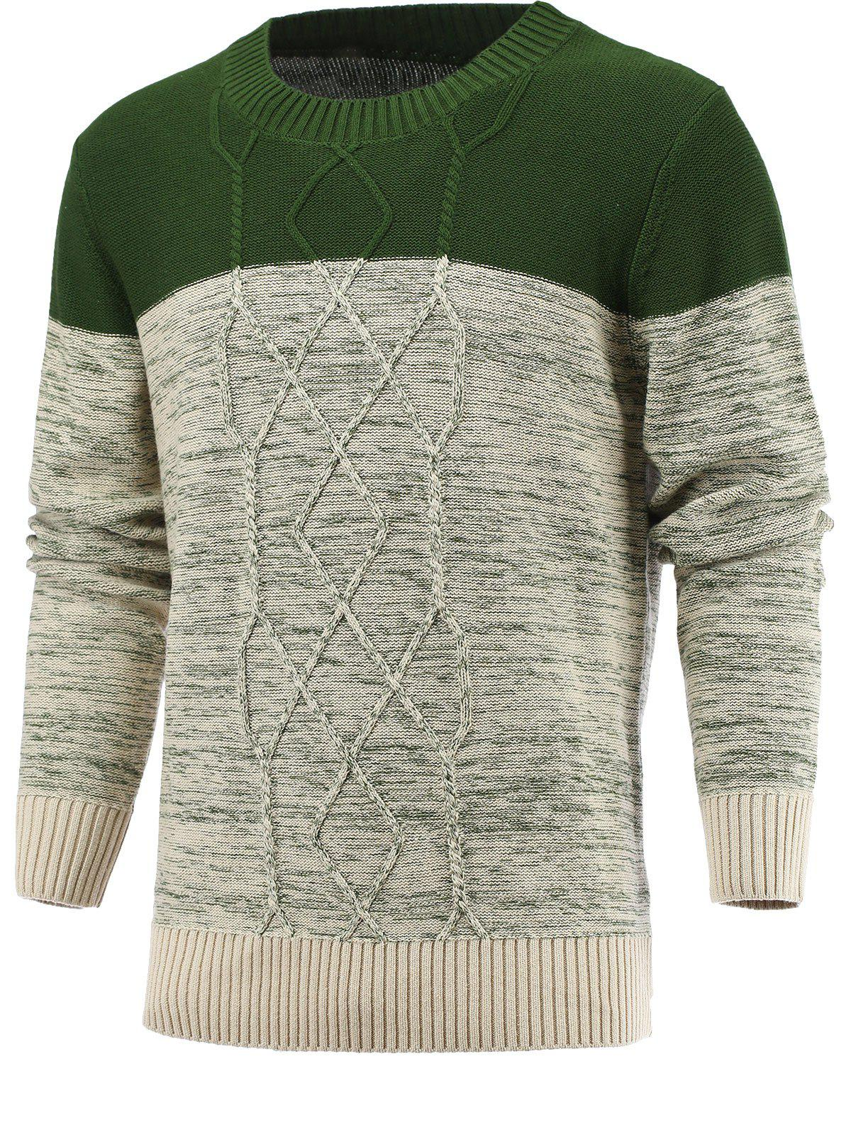 Round Neck Geometric Knitted Spliced Sweater - DEEP GREEN 2XL