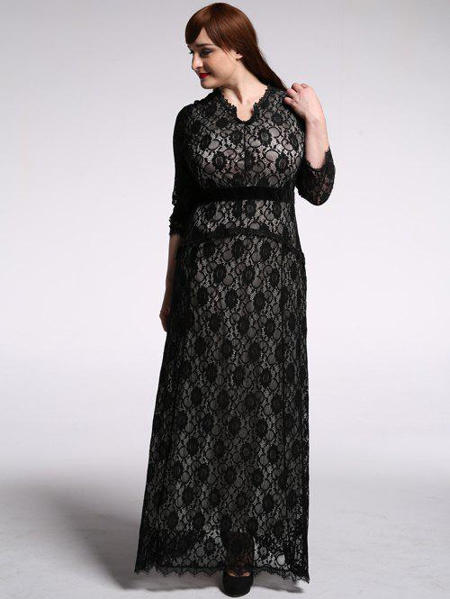 Plus Size High Waist Lace Maxi Dress With Sleeves - BLACK 6XL