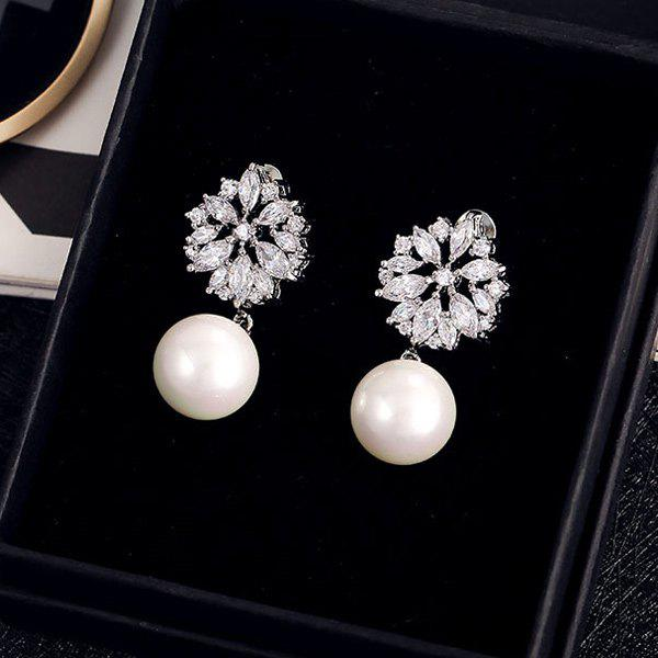 Pair of Faux Pearl Hollow Out Floral Rhinestone Earrings - SILVER