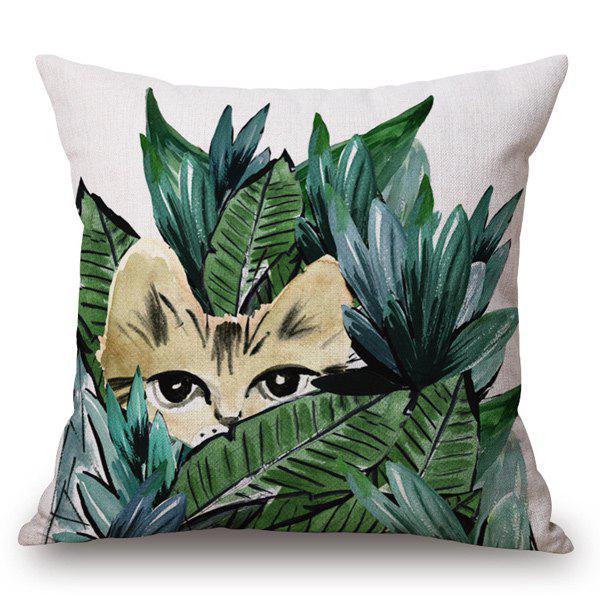 Tropical Style Handpainted Cat and Leaf Printed Pillow Case - OFF WHITE