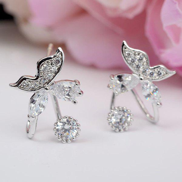 Pair of Stylish Silver Plated Rhinestone Butterfly Earrings - SILVER