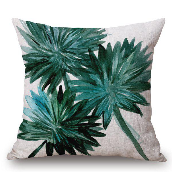 Creative Style Handpainted Leaf Printed Pillow Case - OFF WHITE