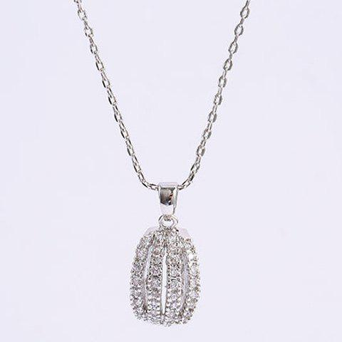 Curved Rhinestone Alloy Pendant Necklace - SILVER