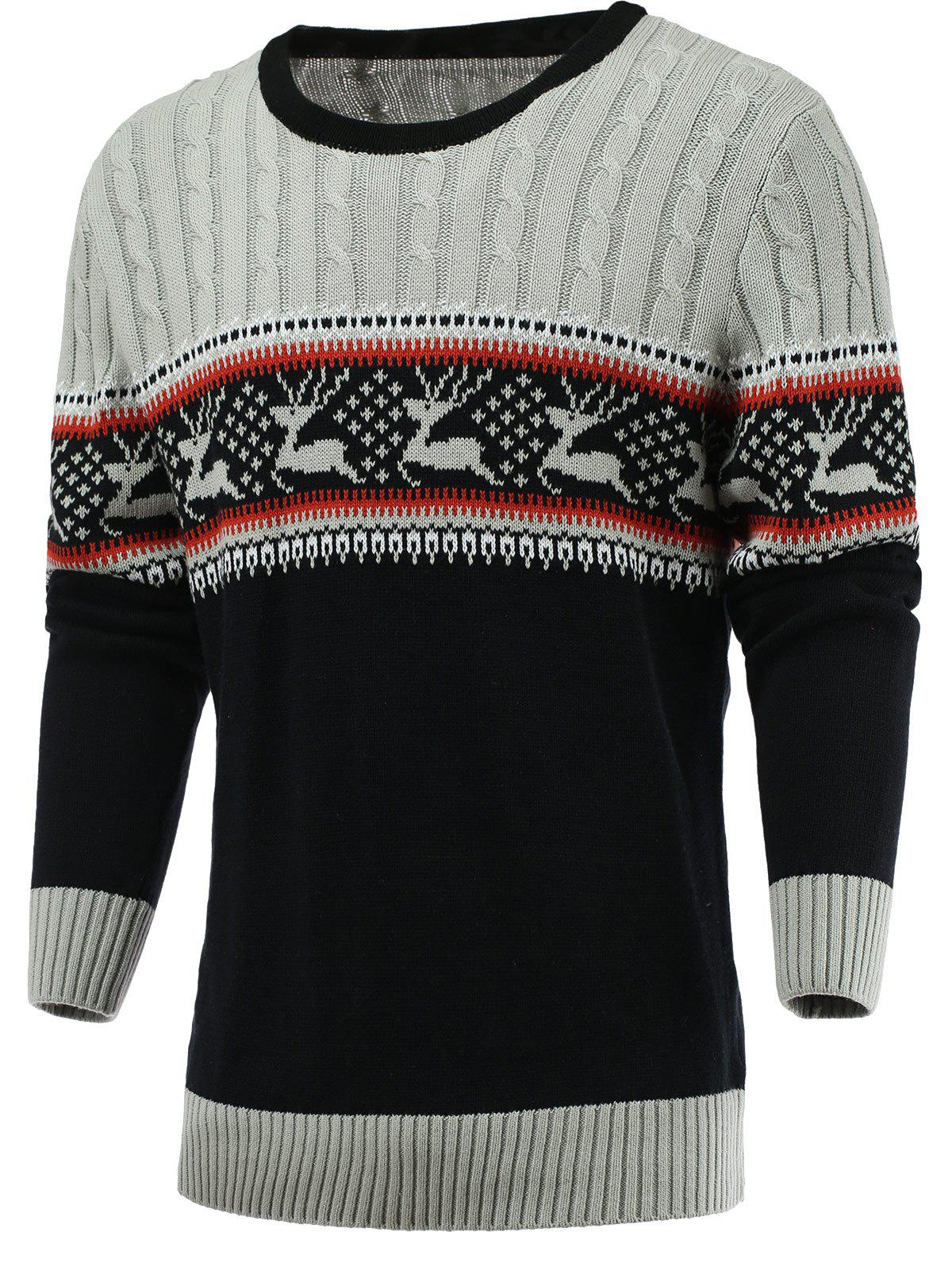 Elk Knitted Color Blocks Spliced Sweater - GRAY 2XL