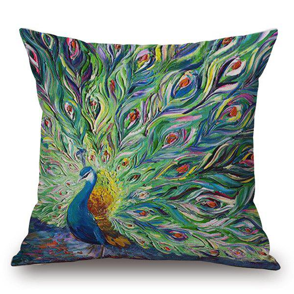 Southeast Asia Style Handpainted Unfolded Tail Peacock Printed Pillow Case - GREEN