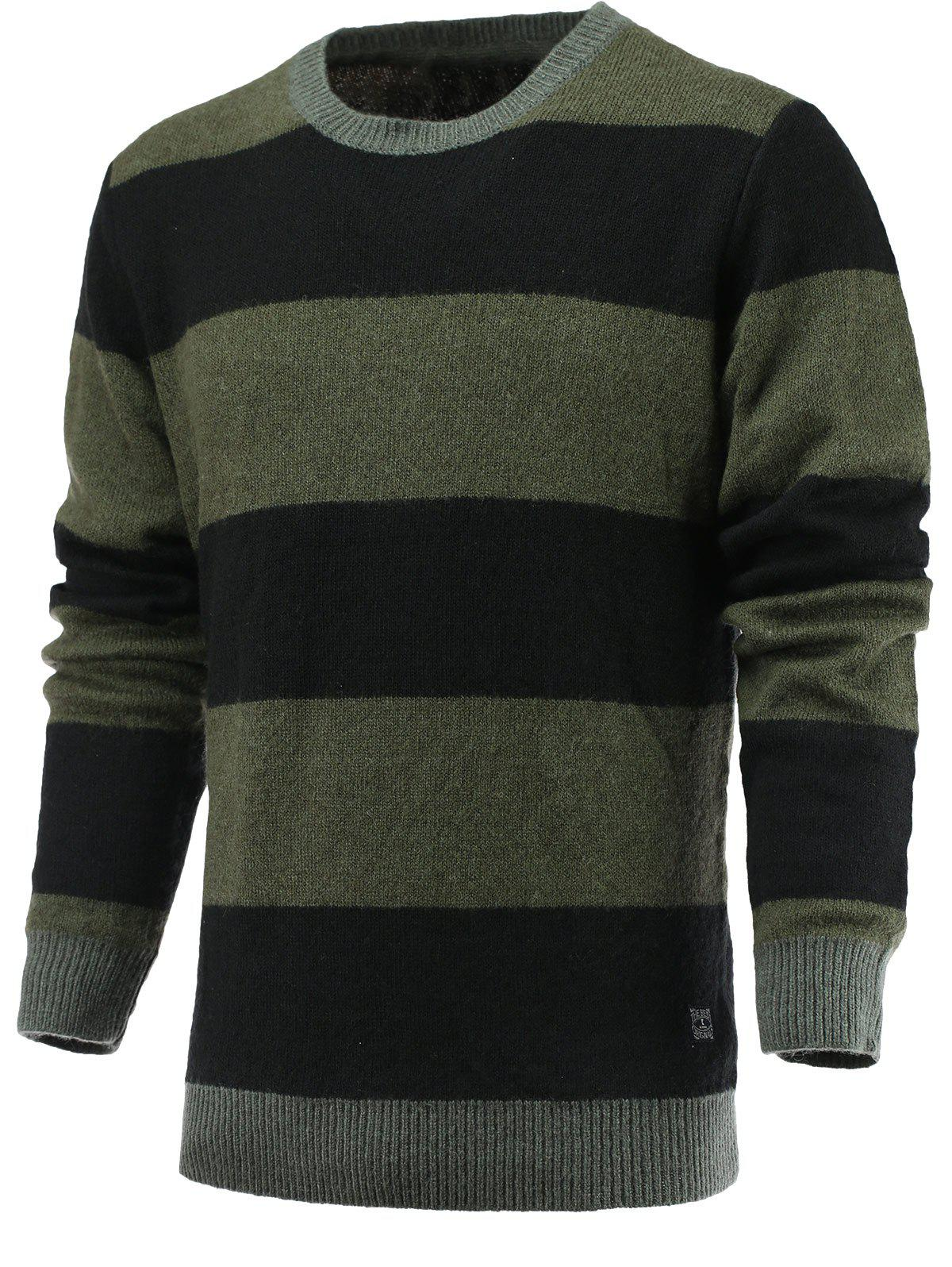 Round Neck Color Blocks Spliced Sweater - GREEN 2XL