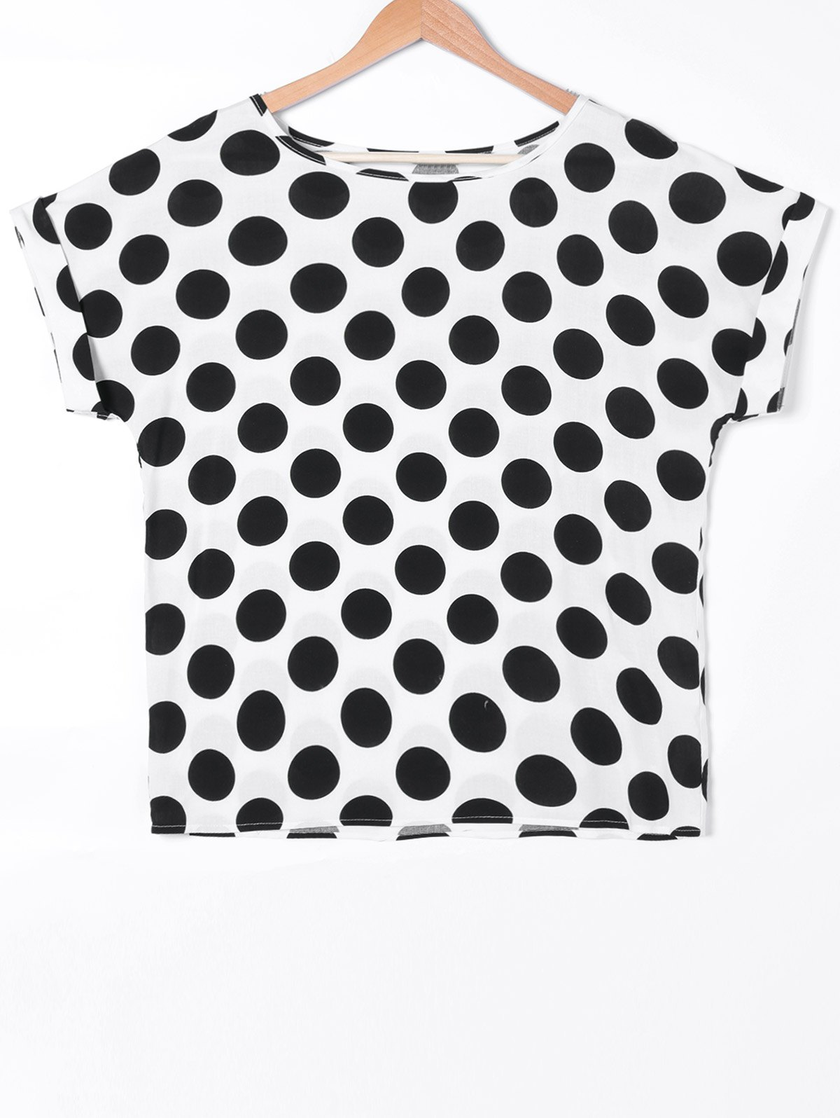 Sweet Polka Dot Print Cuffed Sleeve T-Shirt - WHITE/BLACK XL