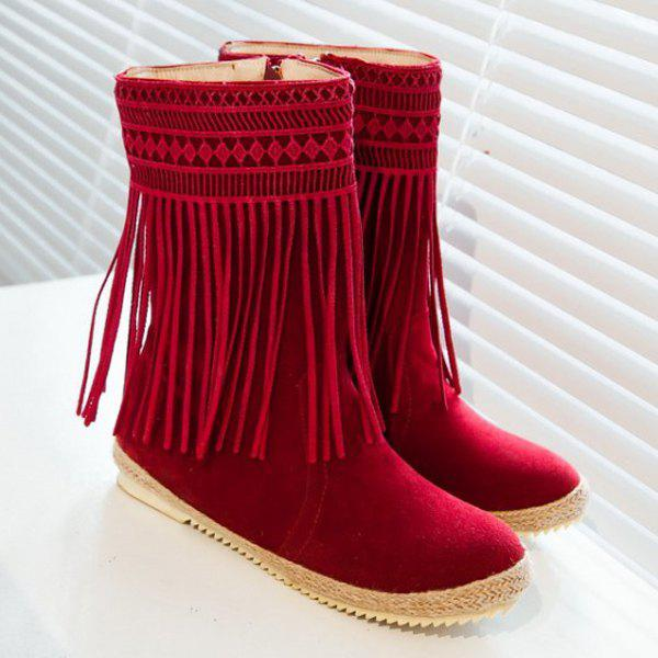 Hollow Out Fringe Design Mid-Calf Boots