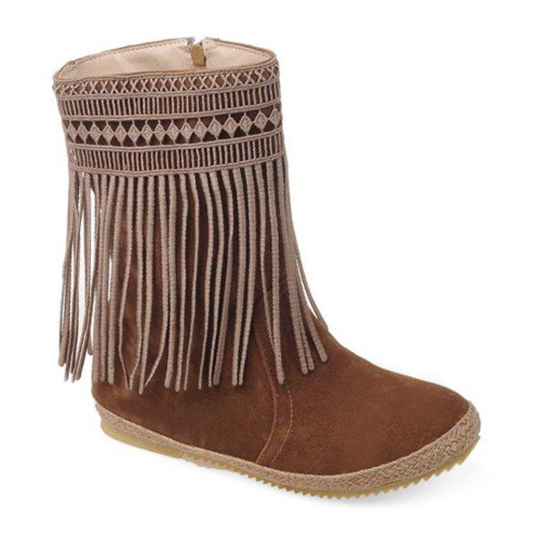 Hollow Out Fringe Design Mid-Calf Boots - BROWN 39