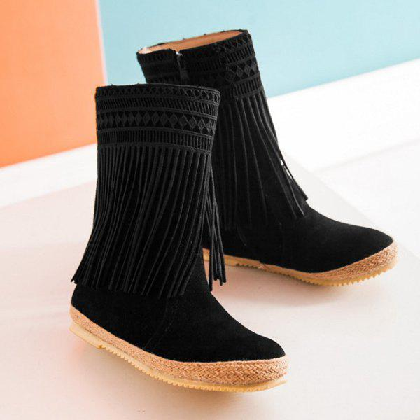 Hollow Out Fringe Design Mid-Calf Boots - BLACK 37