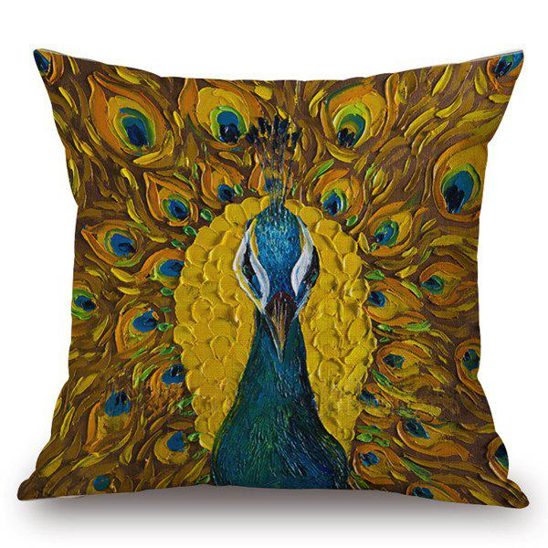 Southeast Asia Style Unfolded Tail Peacock Painting Pillow Case - EARTHY