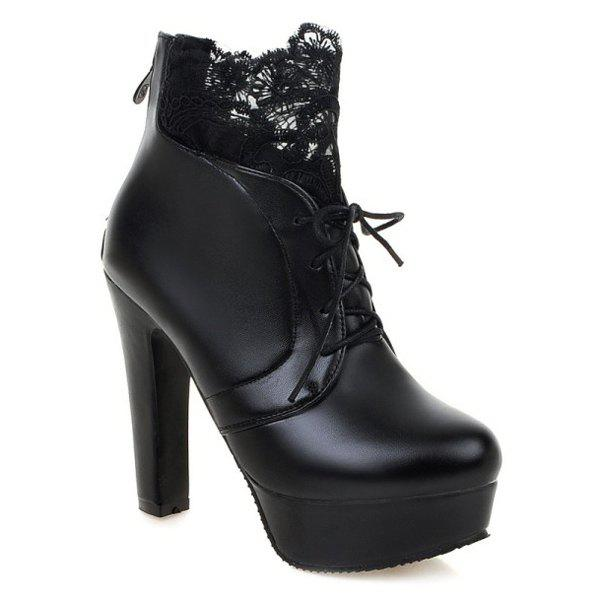 Chunky Heel Lace Splice Ankle Boots - BLACK 39