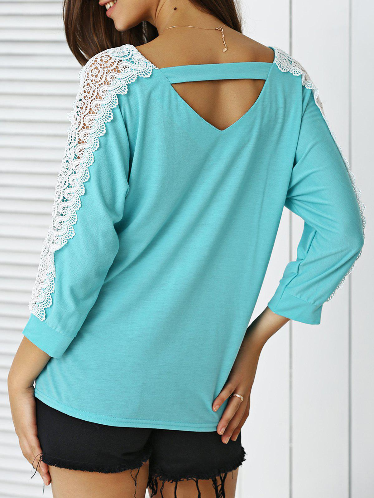V-Neck Lace Applique Cut Out Blouse - LAKE BLUE M