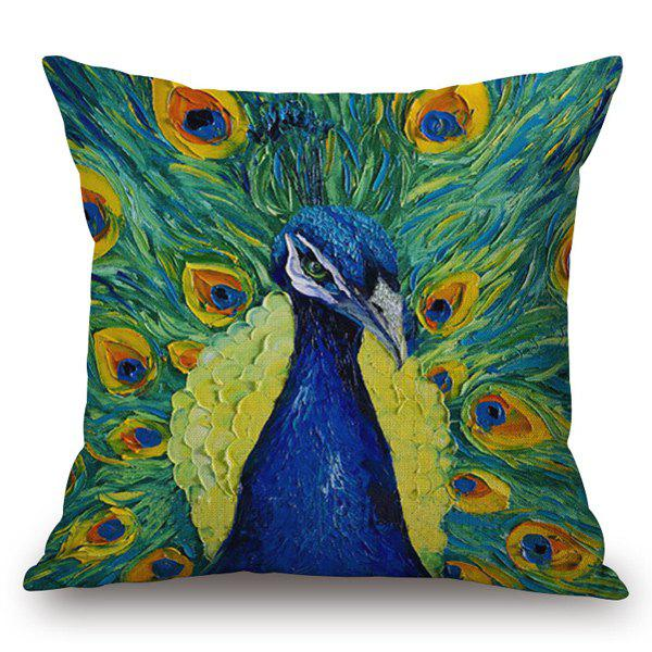 Southeast Asia Style Vivid Peacock Painting Pillow Case - GREEN