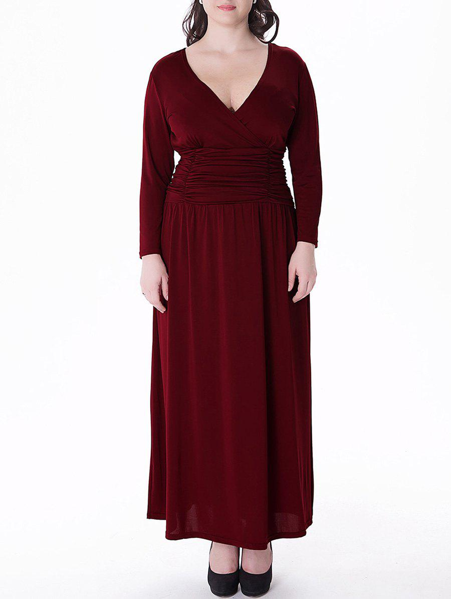 Plus Size V Neck Long Sleeve Loose Maxi Dress - WINE RED 6XL