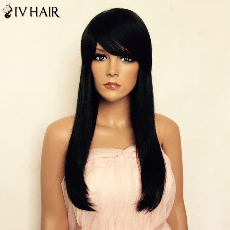 Real Human Hair Long Natural Straight Capless Side Bang Siv Hair Wig