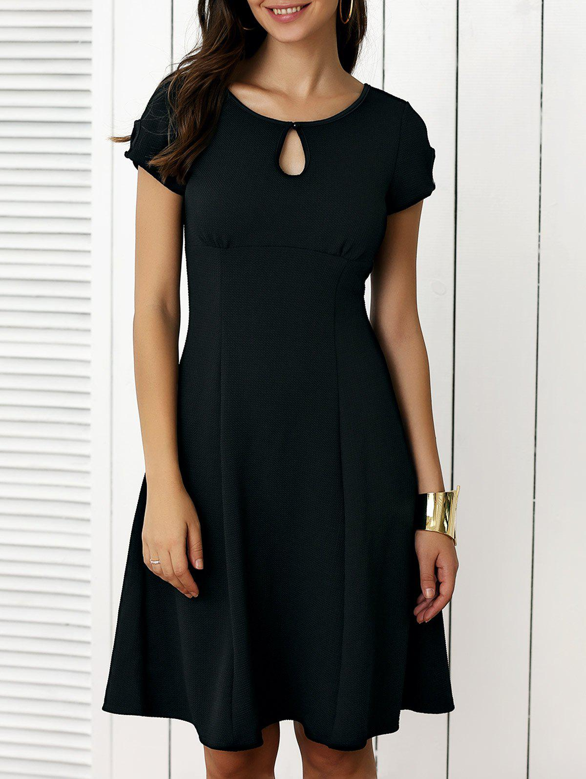 Keyhole Short Sleeve Cut Out Fit and Flare Dress - BLACK L