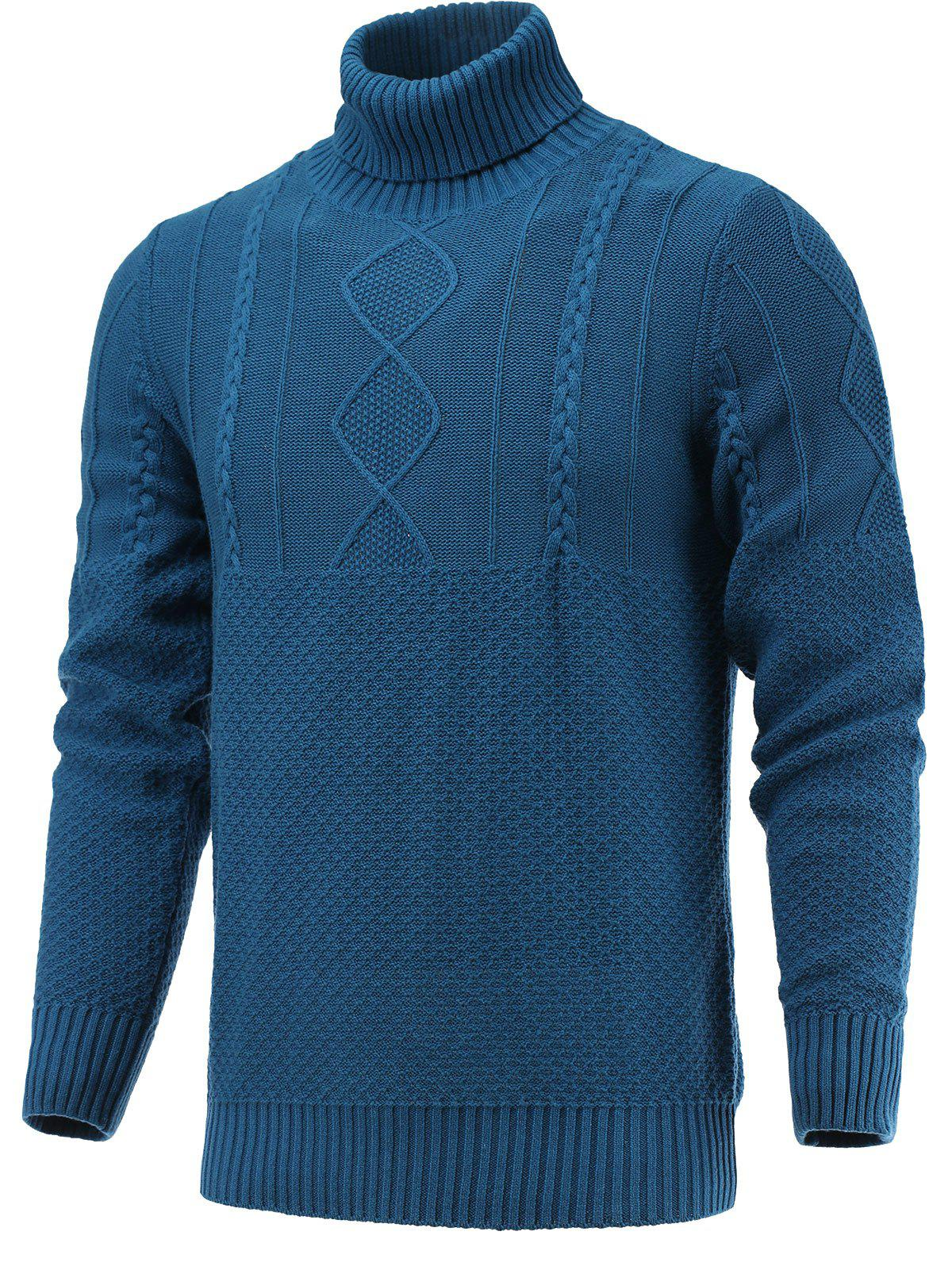 Turtleneck Geometric Knitted Sweater - BLUE XL