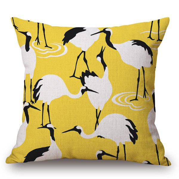 Southeast Asia Style Handpainted Red-Crowned Crane Pattern Pillow Case - YELLOW