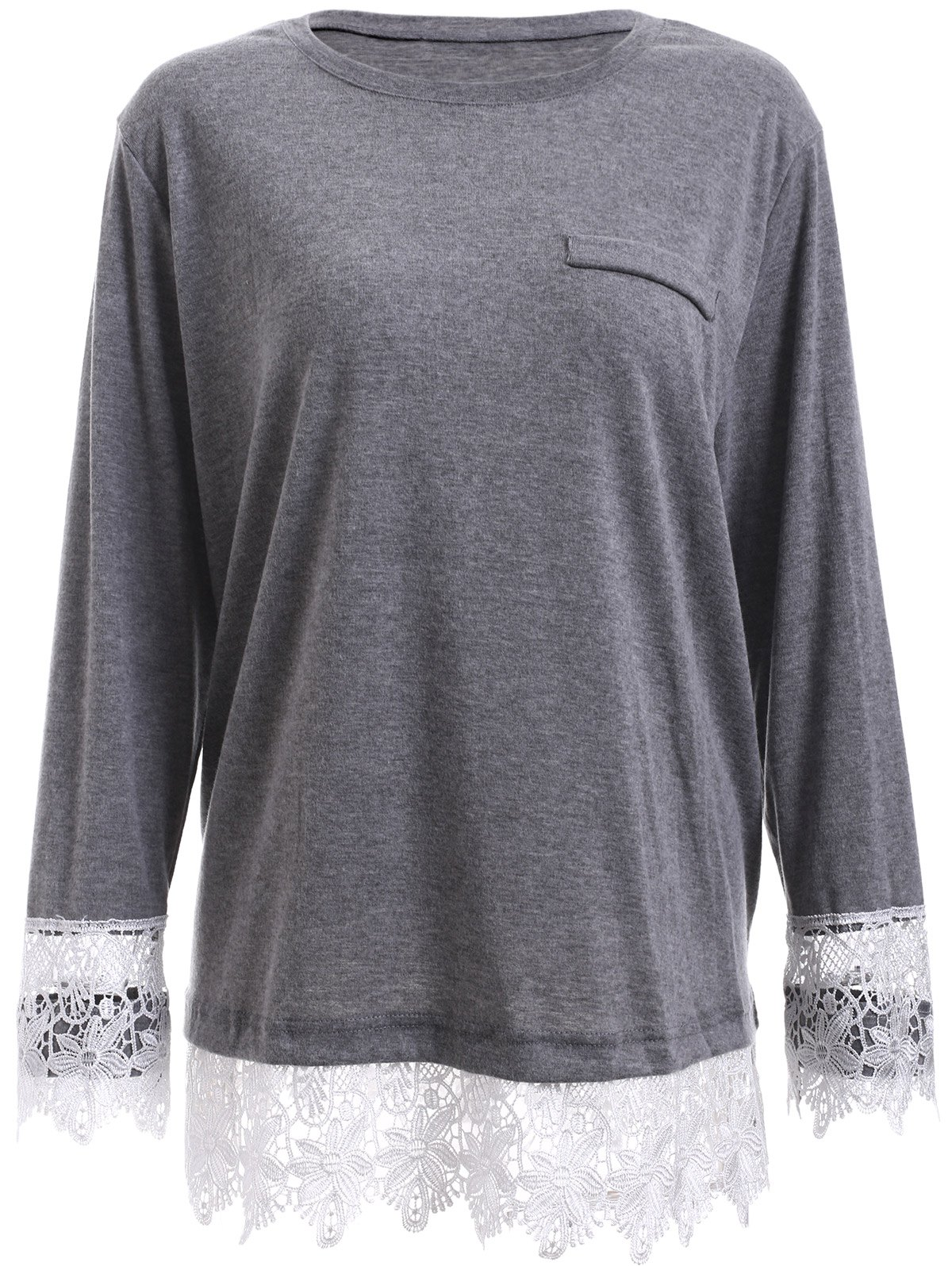 Oversized Long Sleeve Lace Splicing T-Shirt - GRAY 5XL