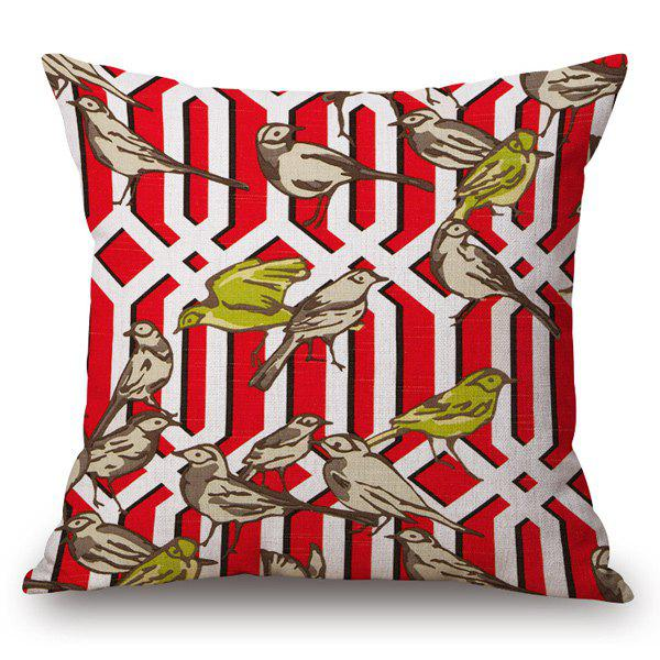 Casual Style Handpainted Birds and Fence Pattern Pillow Case - RED
