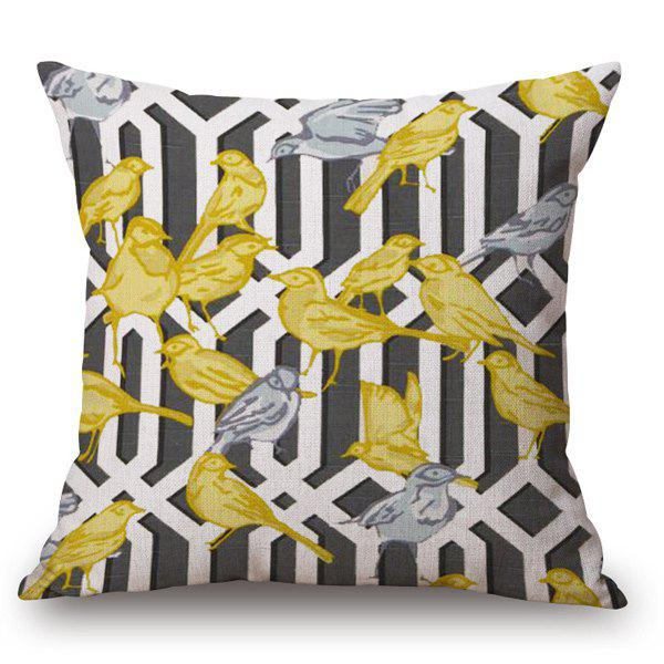 Casual Style Handpainted Birds and Fence Pattern Pillow Case handpainted birds and fence pattern pillow case
